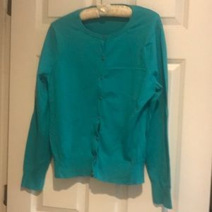 Women's Supima Cotton Cardigan Teal Sweater